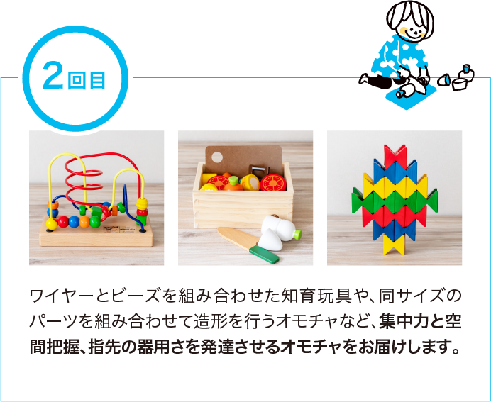 知育玩具やおもちゃのレンタル・サブスク キッズラボラトリーの2回目のお届けのプランニング例
